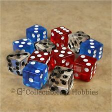 NEW Set 12 Transparent Dice - Red Blue Clear RPG Bunco Game 16mm 5/8 inch D6