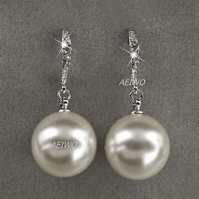 9K WHITE GOLD GF MADE WITH SWAROVSKI CRYSTAL WOMENS PEARL STUD EARRINGS