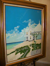 "Original Framed OOAK John Kiraly Oil Painting ""Sandcastle 1979"" Key West Artist"