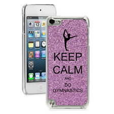 Purple GLITTER Bling Apple iPod Touch 5th 6th Hard Case Keep Calm Do Gymnastics