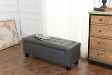 Ottoman Storage Chest Grey Faux Leather Bedding Blanket Box Verona Upholstered