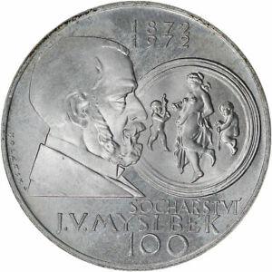 1972 Czechoslovakia Silver 100 Korun Sochařství J. V. Myslbek