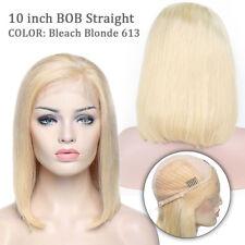 Hot 100% Peruvian Remy Human Hair Bob Lace Front Wig Straight Wavy Wigs Glueless