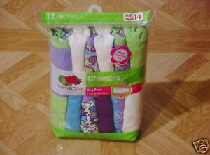 Fruit Of The Loom Girls 12 Pack Neon Green/Purple/Turquoise Assorted Briefs 14