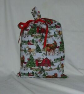 Horse and Barn Christmas Design Homemade Fabric Gift Bag with Ribbon