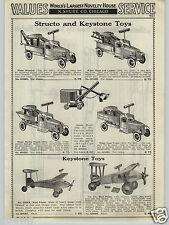 1937 PAPER AD Structo Keystone Toy Ride On Tow Wrecker Truck Dump Steam Shovel