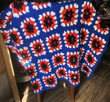 Crochet Large Afgan Blanket 64 X 64 Red White And Blue Fireworks Soft Handmade