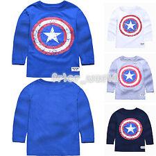 bambini ragazzi CAPITAN AMERICA maniche lunghe T-Shirt Top Casual Camicie età