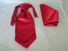 Dark Raspberry Ruche Polyester Tie-Cravat & Hanky Set<Page Boy>P&P 2UK>1st Class