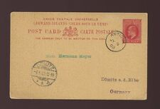 LEEWARD ISLANDS KE7th STATIONERY CARD 1903 to GERMANY...VFU