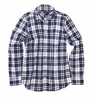 J.Crew Mercantile Women's L - Arctic Ocean Blue Plaid Flannel Button-Down Shirt