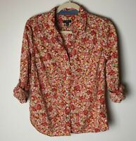 Talbots Women's Blouse Size 10 Petite Top Shirt Floral 3/4 Roll-Tab Sleeves