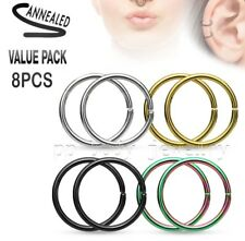 4 PAIR Value Pack of Assorted Colors Titanium IP Steel Seamless Nose Hoop Rings
