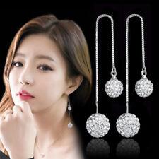 925 Sterling Silver Austria Crystal Ball Drop Earrings Ear Line For Charm Women