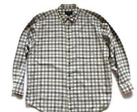Eddie Bauer White/Black/Green Plaid Flannel Shirt-Mens-Sz Large