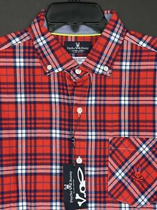 Psycho Bunny Walker Long Sleeve Sport Shirt Men's Red Tomato Plaid NEW $125 NWT