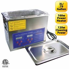 Stainless Steel 3L Heated Ultrasonic Cleaner w/ Timer Heater **Can/US Approved**