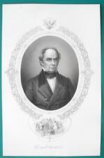DANIEL WEBSTER Secretary of State Orator - 1856 Portrait Print Ornamental Border