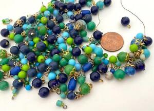 Vintage Aqua Blue Green Beads Charms with Loop Mix Japan 80