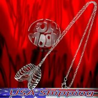 New Human Chest Bone Skeleton Goth Punk Rock Halloween Metal Pendant Necklace