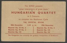 Hungarian Quartet 1962 India performance advertisement
