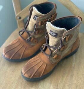 UGG Cecile Chestnut Waterproof Leather Duck Boots Women's Size 7.5 - Fitsole