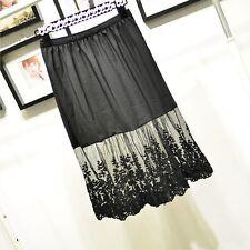 Lady Lace Slips Dress Skirt Extender A-Line Half Slip Extend Petticoat Black