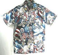 High Seas USA Mens Patriotic Shirt Small Eagle Flag Red White Blue Casual Collar