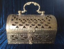 Vintage Brass Treasure Chest Hearts Jewlery Trinkets Pirate Decor Gift Box