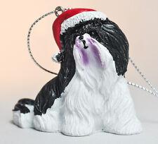 Black & White Pekingese - Gift 2 Give - Pekingese with Elf Cap - Ornament
