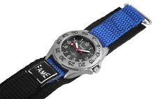 Damen Kinder Sport Armbanduhr Textil Klettband Klettverschluss Schwarz/Blau