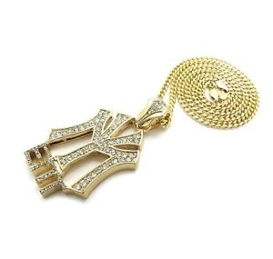 "ICED HIP HOP YOUNG MONEY ENT PENDANT & 3mm 24"" CUBAN CHAIN BUST DOWN NECKLACE"