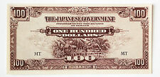 Malaya 100 Dollars P-M8 1944 xf light staining Japanese invasion