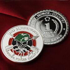 "1 Troy oz .999 Fine silver bullion, ""Special Forces Group  No Surrender"" design."