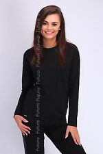 Womens Jumper Long Sleeve Crew Neck Plain Casual Top Size 8 - 12 FA411