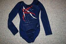 Leotard Gymnastics Snowflake designs red white and blue gems, X small New