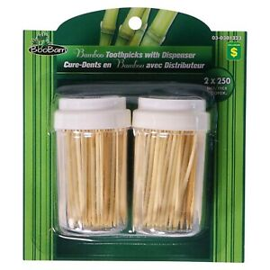 Lot Pack of 3 BooBam Bamboo Toothpicks with Dispensers 500PK FREE SHIPPING