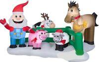 CHRISTMAS 9 FT SANTA FARM PIG SHEEP CHICKEN HORSE AIRBLOWN INFLATABLE YARD GEMMY