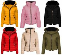 Womens Girls Jacket Fur Collar Quilted Padded Puffer Warm Hooded Ladies Coat