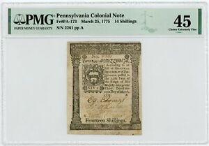 (PA-173) March 25, 1775 14 Shillings PENNSYLVANIA Colonial Currency - PMG XF 45
