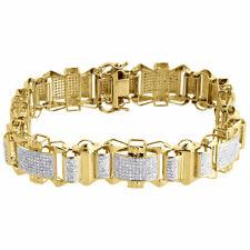 "Diamond Statement Link Bracelet Mens 10K Yellow Gold 8"" Pave Round Cut 2.60 CT."