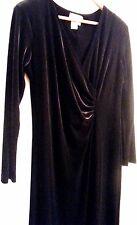 COLDWATER CREEK Black Velvet Full Length Poly/Spndx Faux Wrap Dress SIZE 12P