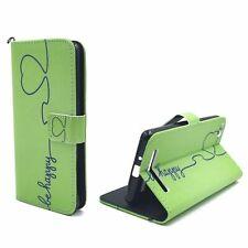 Schutz Hülle für Xiaomi Redmi 3 Be Happy Grün Tasche Case Leder-Imitat Wallet