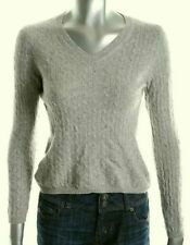 New CHARTER CLUB Cable Gray Cashmere V-neck Sweater PP Womens Girls 16 18
