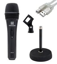 dynamisches USB Mikrofon Vocal Mikro Home Recording Laptop Inkl Tischstativ rund