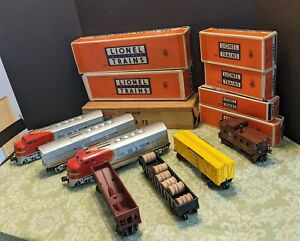 LIONEL POSTWAR O No. 2191W SANTA FE A-B-A DIESEL FREIGHT SET, CARS & ALL BOXES!