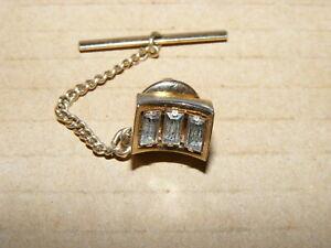 Vintage Gold Tone SWANK Tie Pin with Rhinestones