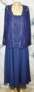 ROAMAN'S Navy Blue Dress and Jacket Set 20W Lace Beaded Sequin Trim Lined Dress