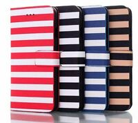Vintage Striped Leather Flip Wallet Folder Case Cover Apple iPhone 5 5s 6 6 Plus