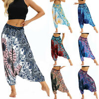 Men Womens Boho Hippie Indian Harem Leggings Yoga Baggy Loose Wide Aladdin Pants